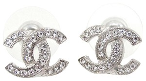 Chanel CC Logo Crystal Silver Classic Box 15S France Medium Jumbo Stud Pierce