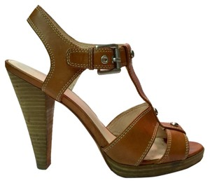Coach Stacked Heel Leather T Strap Brown Silver Sandals