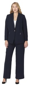 Tahari Tahari Zip-Pocket Crepe Pant Suit Navy Plus Size 16W