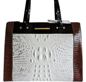 Brahmin Croc & Lizard Emboss Large Leather /shoulder Tote in Halo/White, Brown and Black