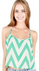 Timing Chevron Mint White Camisole Tank Top Mint Green