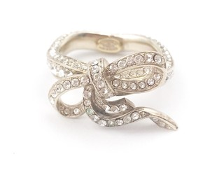 Chanel Chanel Light Gold Bow Ribbon Crystal Ring