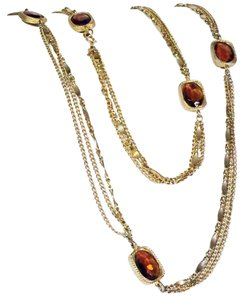 Sarah Coventry stunning amber crystal glass by the yard station gold tone necklace Sarah cov