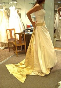 Lazaro Lazaro Strapless Gold Sash Streamers Silk Satin Wedding Dress