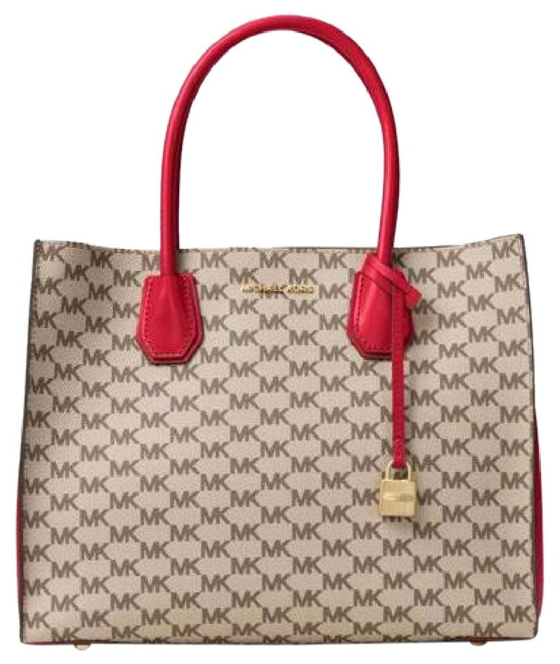 94745fd6c21d Michael Kors Signature Mercer Large Convertible Natural Bright Red Leather  Tote