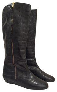 MILIORINI Riding Knee High Tall Leather Faux Crocodile Embossed New Designer Fashion Black Boots