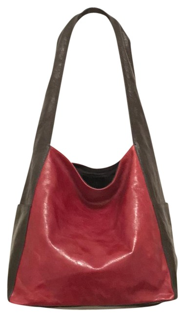 Item - Hobo Shiny Distressed Red Black Leather Shoulder Bag