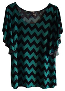 Star Vixen Top teal & black