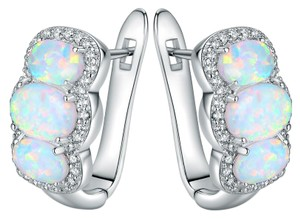 Tori Hamilton 18K White Gold Oval-Cut White Fire Opal & Cubic Zirconia Earrings