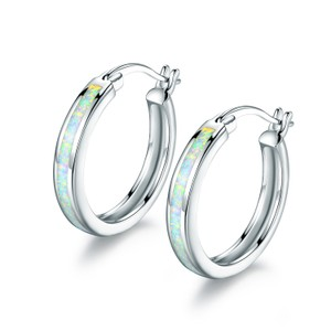 Tori Hamilton 18K White Gold Plated Fire Opal Hoop Earrings