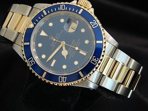 Rolex Mens Rolex Two-Tone 18K/SS Submariner Blue 16613