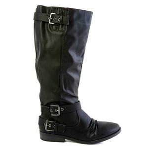 Rampage Riding Tall Knee Zipper Synthetic Black Boots