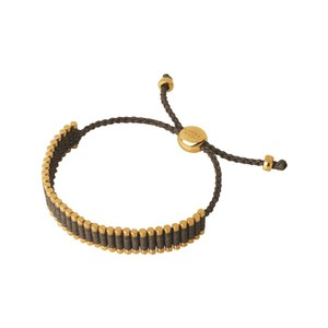 Links of London 18K Yellow Gold Vermeil & Khaki Cord Friendship Bracelet