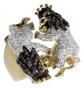 Other Twin Roaring Lion King 25MM Black and White Diamond Ring 2.0ct.