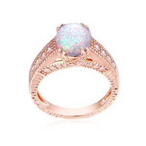 Tori hamilton 18K Gold Plated Rose Gold & 2CTTW Opal Engagement Ring Size 6 (R1594)