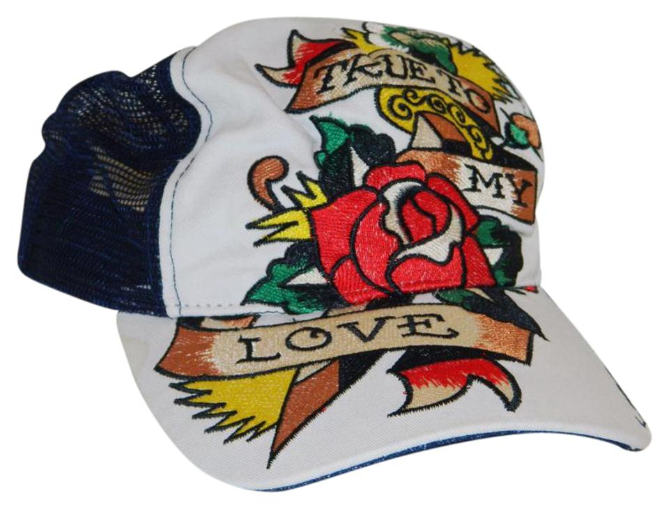 f9cefa94b Ed Hardy White Black Red Yellow True To My Love Hat - Tradesy