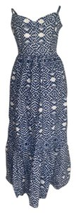 Blue and White Maxi Dress by Betsey Johnson Print