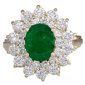Fashion Strada 3.11CTW Natural Emerald And Diamond Ring 14K Solid Yellow Gold