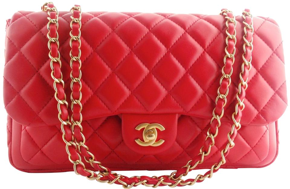 c060facdcb0ec1 Chanel Classic Flap Now and Forever Quilted Jumbo Double A94008 14c Red  Lambskin Leather Shoulder Bag