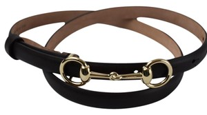 Gucci Gucci 282349 Horsebit Leather Skinny Belt Cocoa 90-36