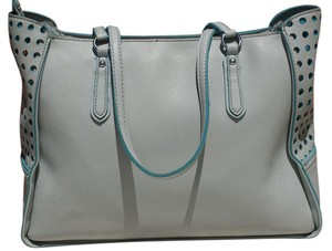 Guess Faux Leather Signature Textured Perforated Logo Tote in Light Blue