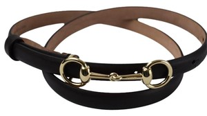 Gucci Gucci 282349 Horsebit Leather Skinny Belt Cocoa 80-32