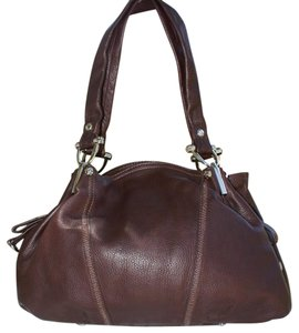 B. Makowsky Signature Textured Leather Silver Hardware Luxury Satchel in Brown