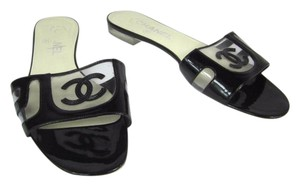 Chanel Leather Logo Cc Flats Black Sandals