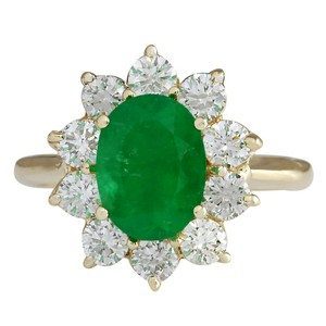 Fashion Strada 3.08CTW Natural Emerald And Diamond Ring 14K Solid Yellow Gold