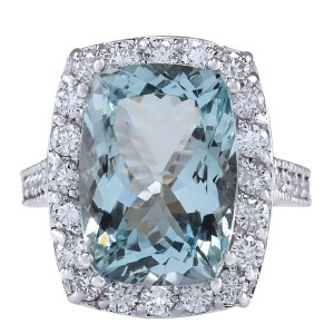 Fashion Strada 8.82CTW Natural Aquamarine And Diamond Ring In 14K White Gold