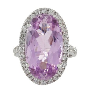 Fashion Strada 16.40CTW Natural Kunzite And Diamond Ring 14K Solid White Gold