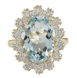 Fashion Strada 7.11CTW Natural Aquamarine And Diamond Ring In 14K Solid Yellow Gold