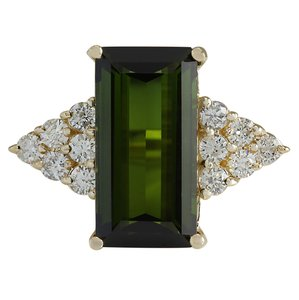 Fashion Strada 10.65CTW Natural Green Tourmaline And Diamond Ring 14K Solid Yellow Go