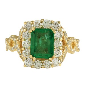 Fashion Strada 3.18CTW Natural Emerald And Diamond Ring In 14K Yellow Gold