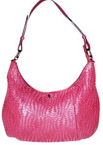 Elliott Lucca Leather Classic Signature Woven Logo Hobo Bag