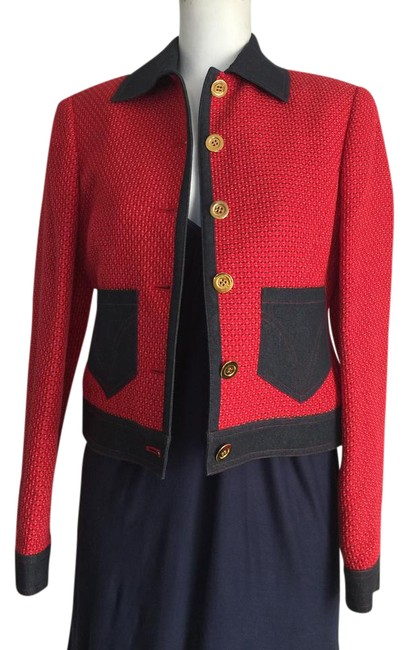 Item - Red and Denim Tweed Jacket Size 0 (XS)