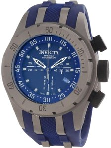 Invicta 0230 COALITION FORCES BOLT GRAY STEEL SWISS CHRONO BLUE RUBBER BAND