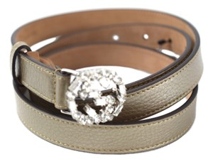 Gucci Gucci 354380 Golden Be Leather Belt w/Crystal Studded GG Buckle 100-40