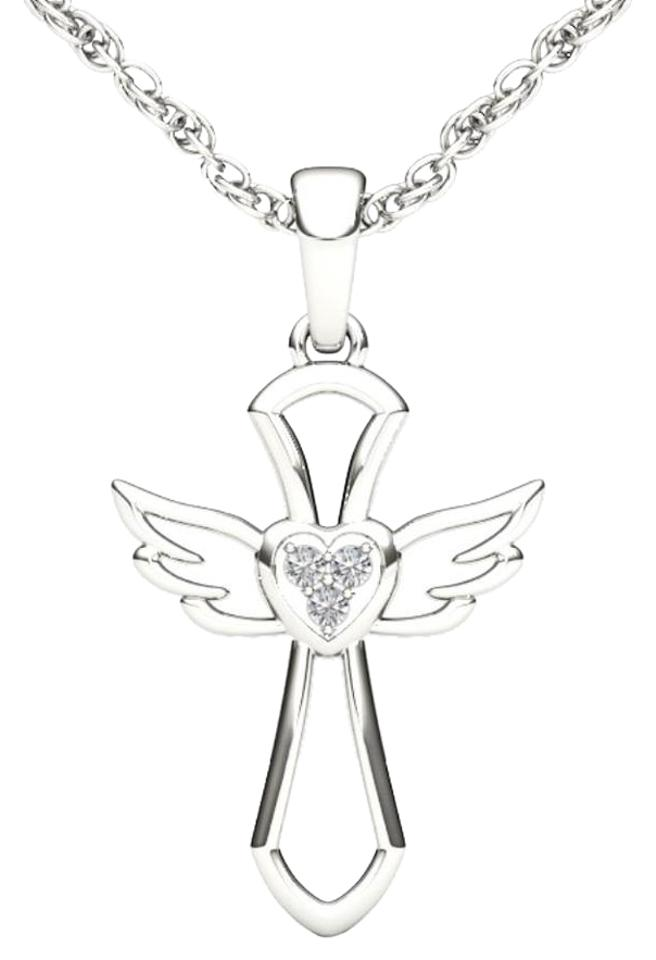 10kt White Gold Diamond Cross Angel Wings Pendant Necklace Tradesy