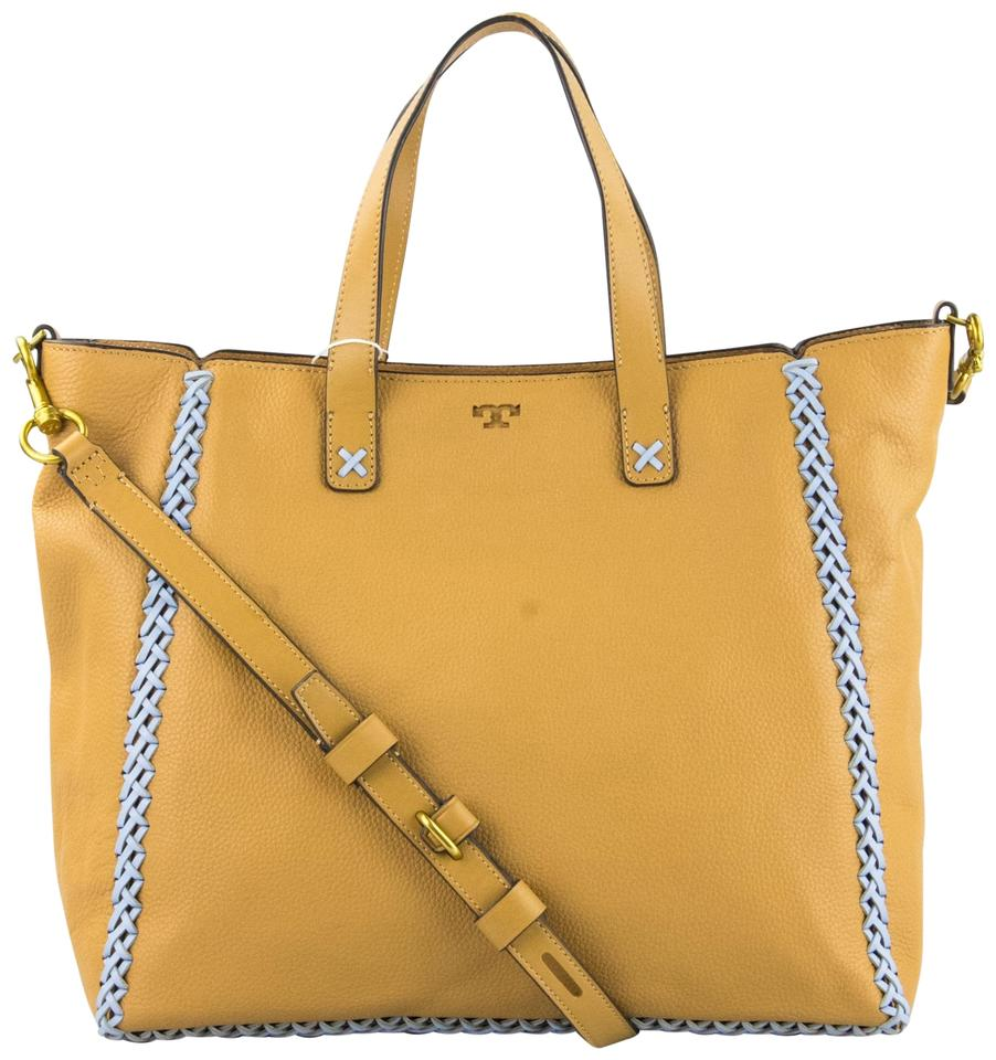 e7f88236cdd Tory Burch Whipstitch Medium Camello and Light Blue Leather Tote ...