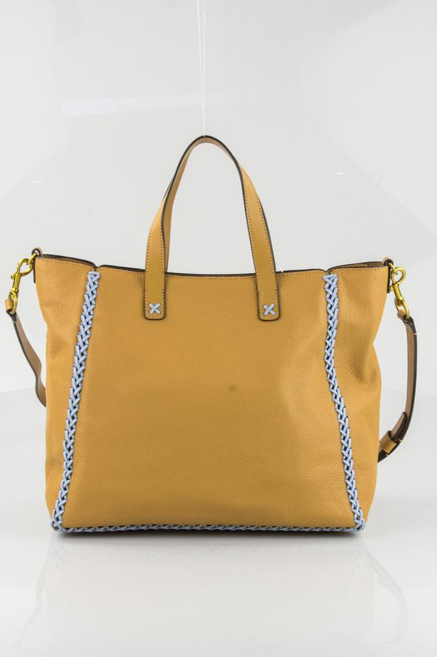 5bf46753606 Tory Burch Whipstitch Medium Camello and Light Blue Leather Tote - Tradesy