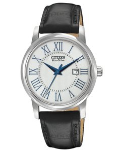 Citizen Eco-Drive w/ Black Leather Band Blue Hands EW1568-04A