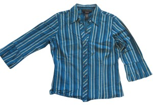 Geoffrey Beene Pleated Striped V-neck Bell Sleeve Button Down Shirt Blue