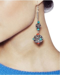 JEWELMINT NEW Jewelmint Dangle Drop Earrings Silver Oxidized Aztec Tribal Mixed Beads