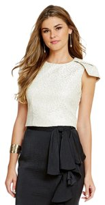 Badgley Mischka Crop Leopard Chic Jacquard Metallic Top Ivory, Gold