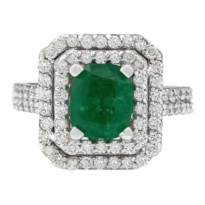 Fashion Strada 3.59 CTW Natural Emerald And Diamond Ring In 14k White Gold