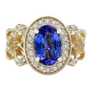 Fashion Strada 3.93 CTW Natural Tanzanite And Diamond Ring In 14k Yellow Gold