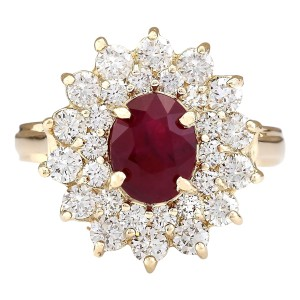 Fashion Strada 3.98 CTW Natural Ruby And Diamond Ring In 14k Yellow Gold