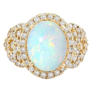 Fashion Strada 4.86 CTW Natural Opal And Diamond Ring In 14k Yellow Gold