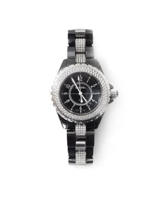 Chanel Chanel Black Ceramic and Stainless Steel Diamond 34mm J12 Quartz Watch